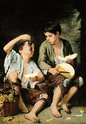 Postal: Niños comiendo melón y uva Alte Pinakothek, Múnich. Editorial Savir (Barcelona)