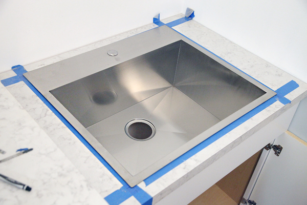Drop In Laundry Room Sink : We lifted the sink back out, removed the painters tape, and placed a ...