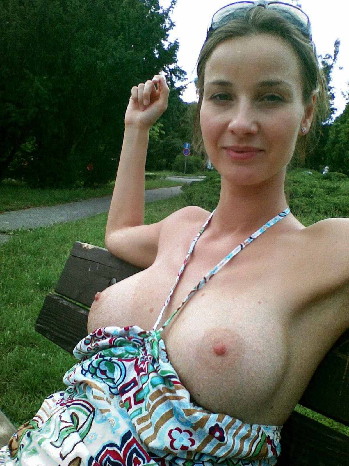 Topless mature woman