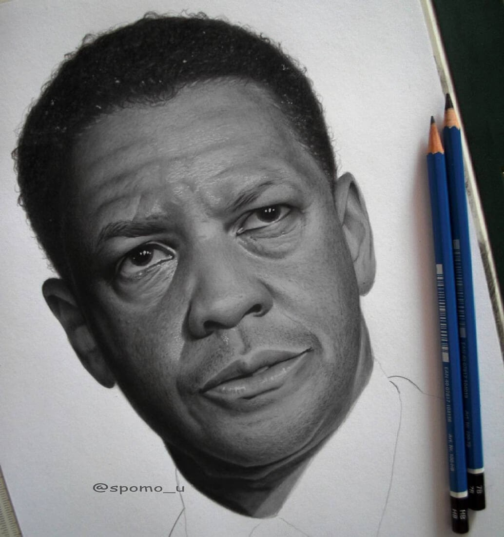04-Denzel-Washington-Spomo-Ubiparipović-Black-and-White-Celebrity-Pencil-Portraits