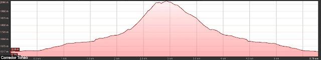 Perfil de ruta al Pico Toneo por el corredor noroeste