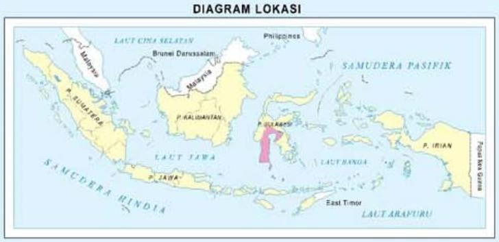peta sulawesi Selatan dalam gugusan peta indonesia