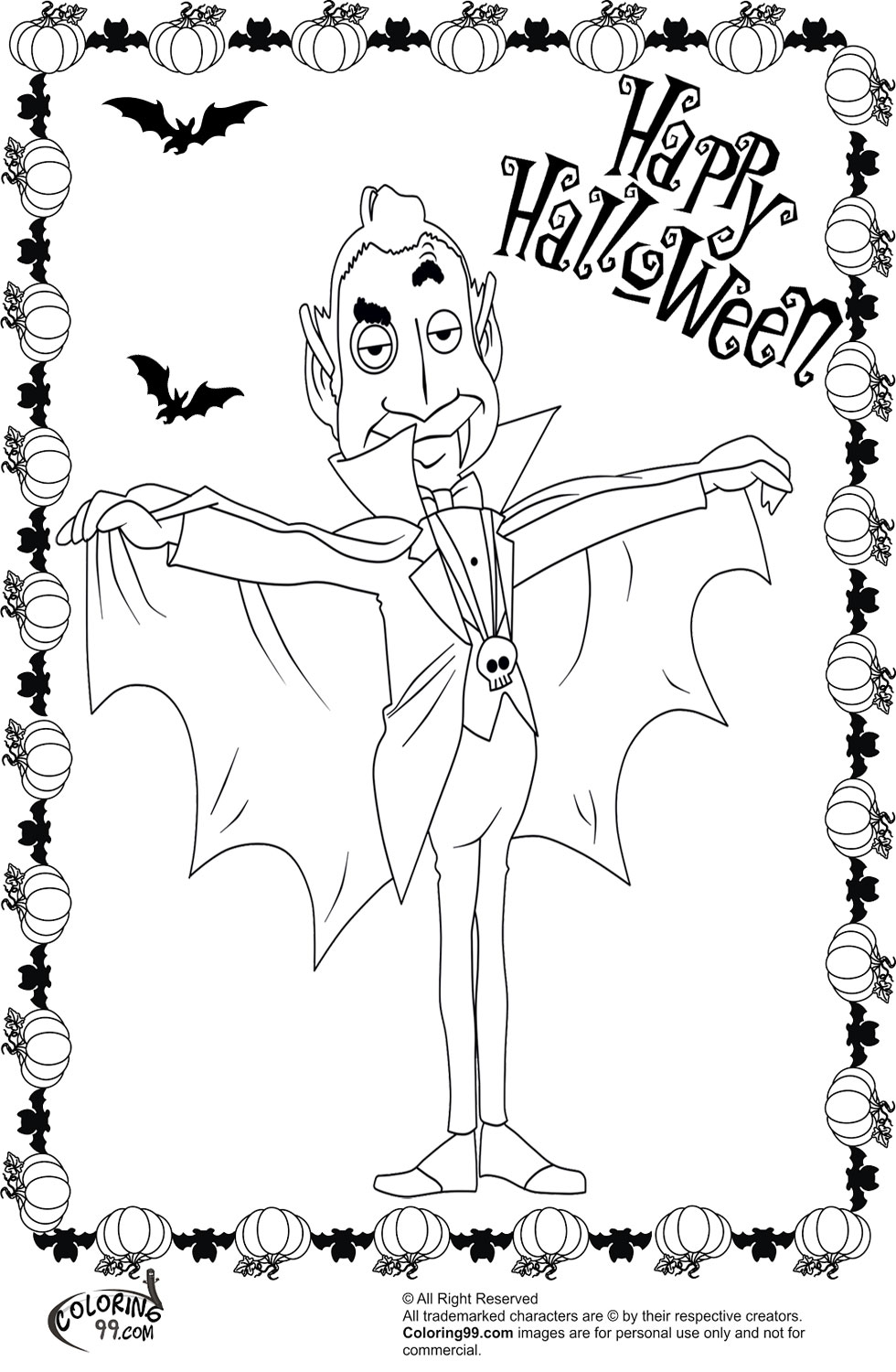 halloween vampire coloring pages - photo#30