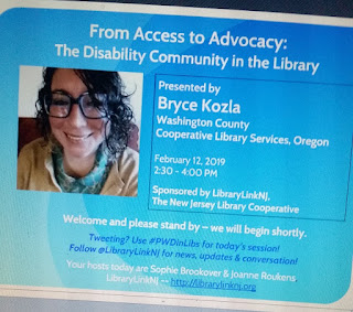 Picture of Bryce, a person with large teal glasses and curly hair, smiling. Text includes the the title of the webinar, date and time, and the sponsorship information. Thanks to LibraryLinkNJ.
