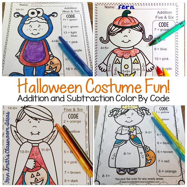 Fern Smith's Classroom Ideas Color By Numbers Halloween Costumed Kids Addition and Subtraction Bundle at TeacherspayTeachers.