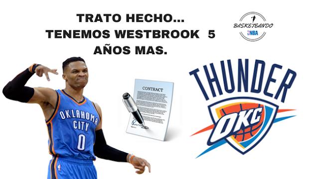 Russell Westbrook ha renovado con Thunder por la cantidad de 2015 millones de dolares a 5 años.