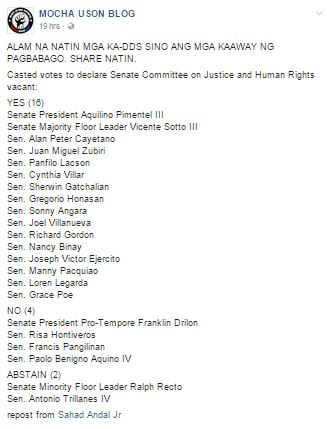 Senators Voted Against De Lima as Chairperson of Committee on Justice