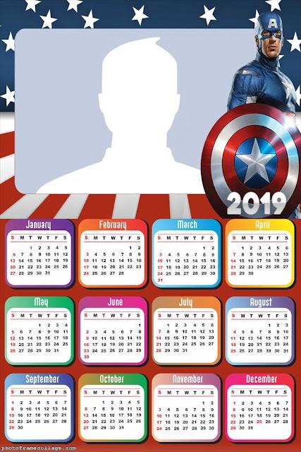 Calendario 2019 del Capitán América para Imprimir Gratis.