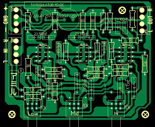 Layout Pcb Tone Control Parametrik - Gambar Ilmu Pengetahuan