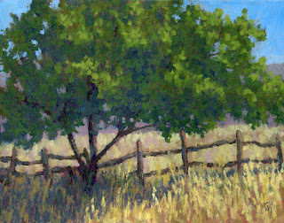 art painting impressionist landscape tree rustic nature fence