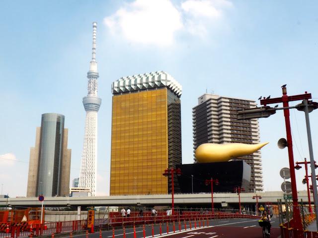 Asakusa skyline with Skytree and Asahi Beer Hall, Tokyo, Japan