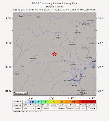 Epicentro sismo 5,1 grados en China, 16 de Diciembre 2013