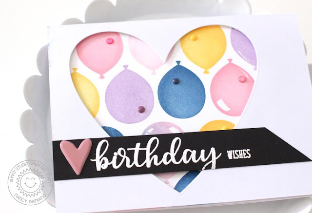 Sunny Studio Stamps: Birthday Balloons Window Front Balloon Cascade Card by Nancy Damiano