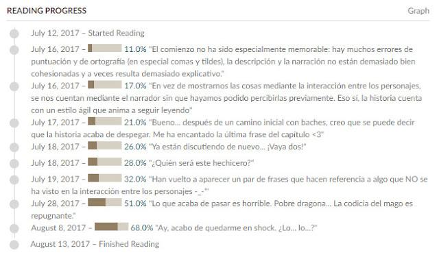 Reading progress de Hacia la tierra del cruce del blog Devoim