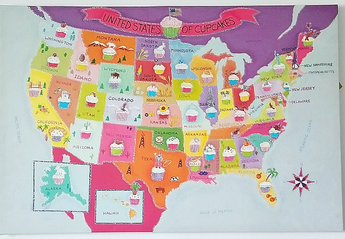 Cupcake Map Wall Art