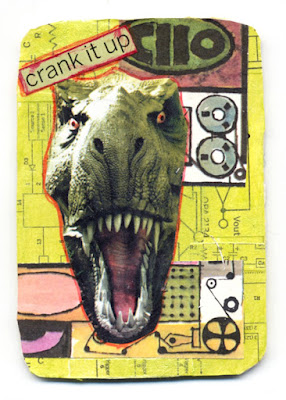 hand cut collaged artist trading cards