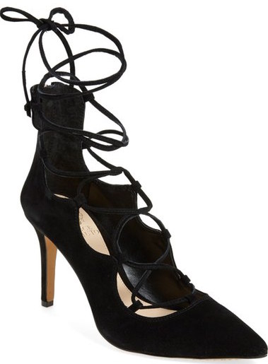 2961a083842 After Sale   129.95)  A pointy-toe pump exudes uptown sophistication in  lush suede with ghillie straps that crisscross along the vamp and around  the ...