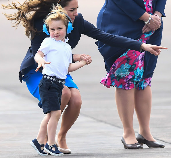 Prince George, Kate Middleton, Duchess Catherine at RAF Fairford. Prince George wore Trotter Nantucket Hampton Canvas shoes, Mayoral Boys Blue Shorts