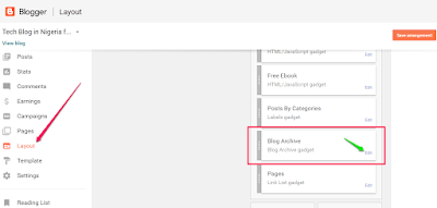 edit blog archive widget on blogger