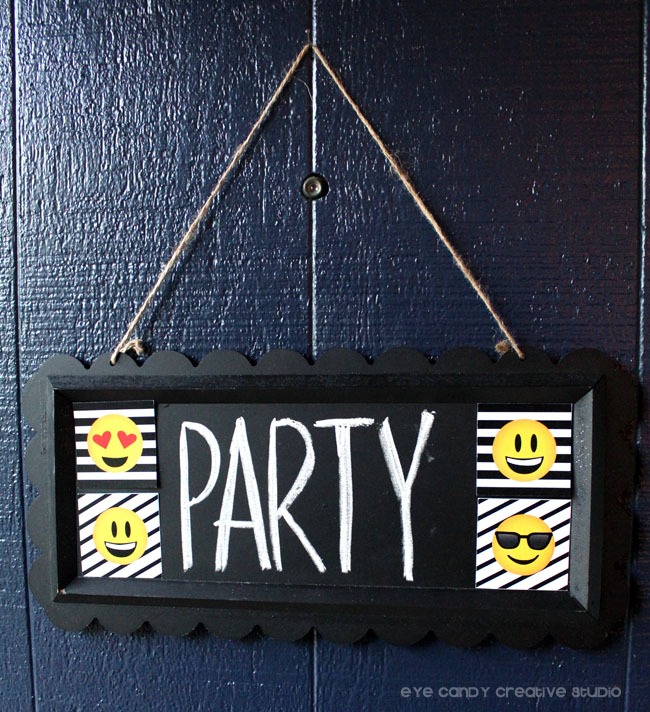 emoji party sign, emoji birthday party, teen birthday party, emoji