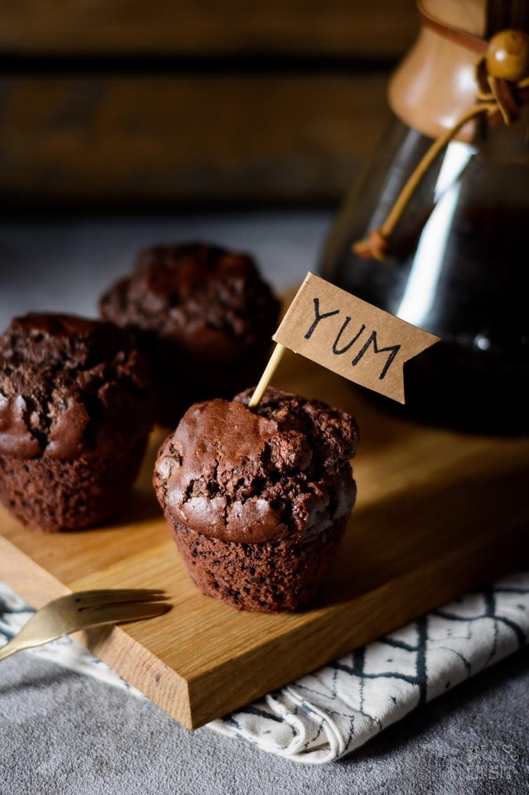 Rezept für Big Double Chocolate Muffins mit viel Schokolade