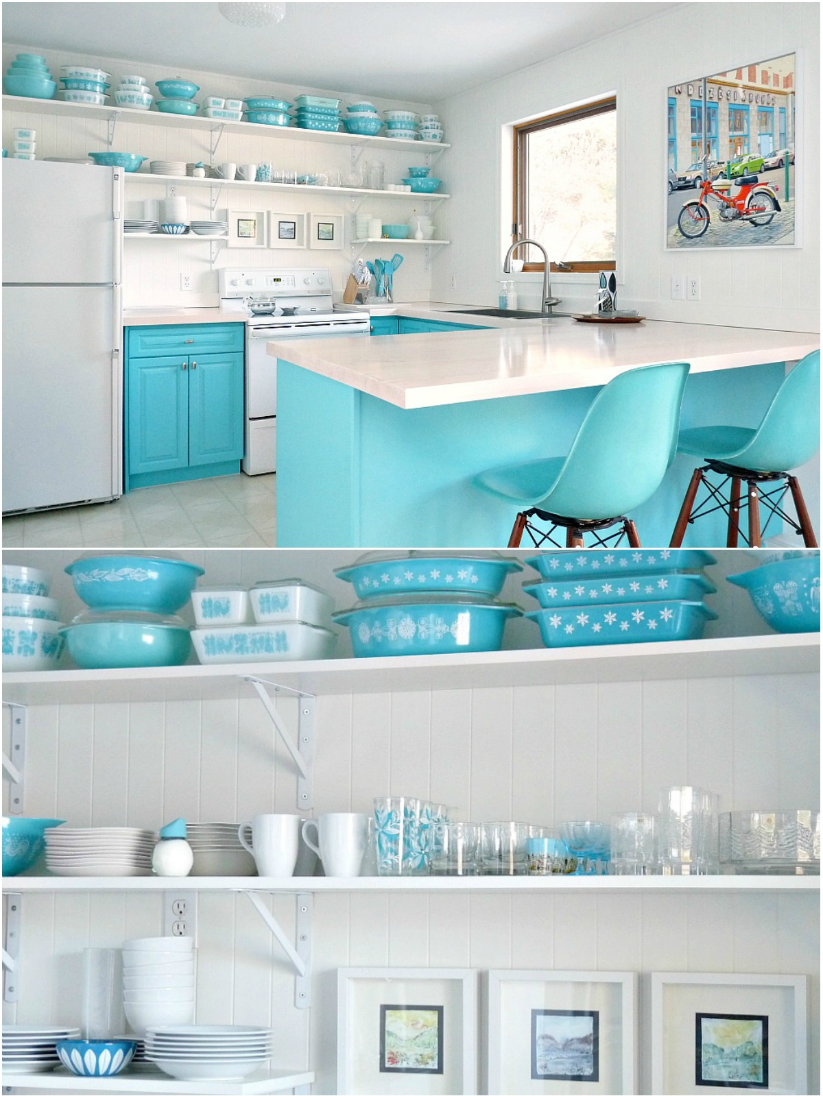 Huge Turquoise Vintage Pyrex Collection on Display in Turquoise Kitchen