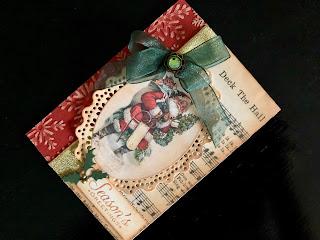 Hand Made Christmas Card with Vintage Father Christmas and Ribbon