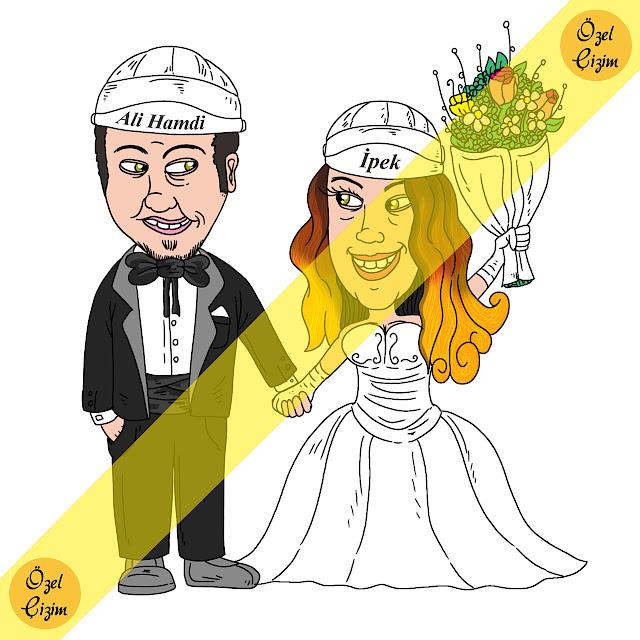 düğün davetiyesi, karikatür, karikatürlü davetiye, komik davetiye, eğlenceli davetiye, farklı davetiye, komik düğün davetiyesi, karikatür çizdir, evlilik, Özel Çizim, Kişiye özel çizim,