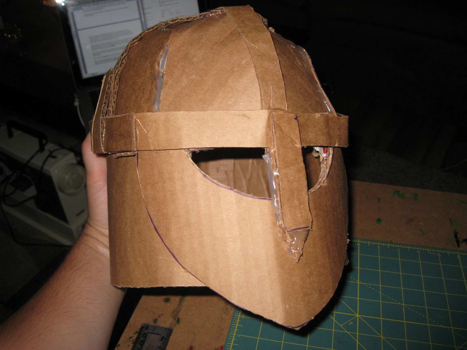 Happily ever crafter diy building a medieval helmet out for Cardboard armour template