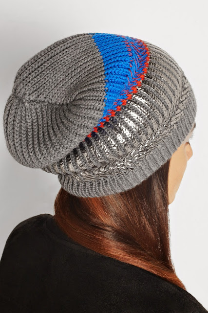 finds silver beanie, finds striped beanie,