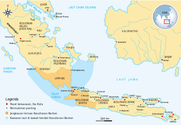 Wilayah kekuasaan Banten pada masa Maulana Hasanuddin yang menguasai Selat Sunda