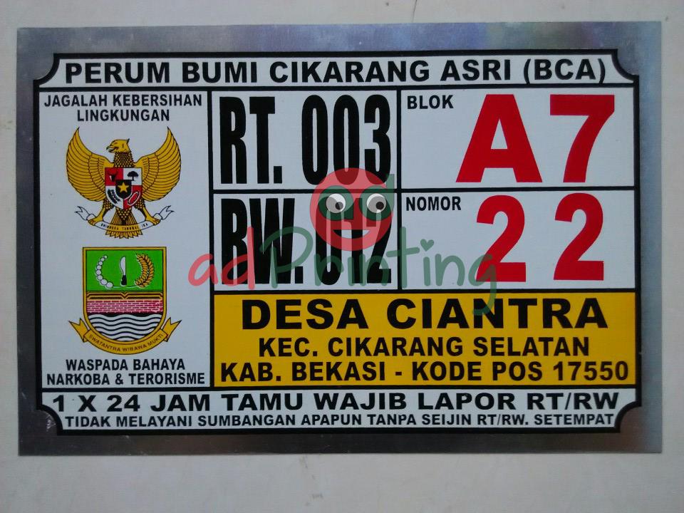Harga Plat Nomor Rumah Termurah Di Indonesia