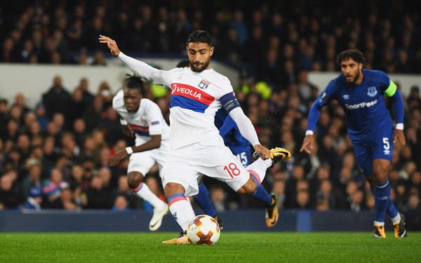 Nabil Fekir of Lyon (18) scores their first goal from the penalty spot during the UEFA Europa League Group E match between Everton FC and Olympique Lyon at Goodison Park on October 19, 2017 in Liverpool, United Kingdom.