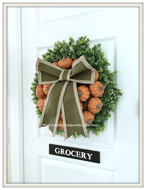 Fall Pumpkin Wreath--Farmhouse Style-Kitchen-Pantry Door-From My Front Porch To Yours