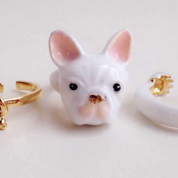 Anel triplo tema animal, cachorro budogue, anel bichinhos