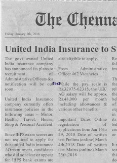 UIIC-AO-Recruitment-2018 Administrative Officer Govt Jobs Recruitment Prelims Exam Notification