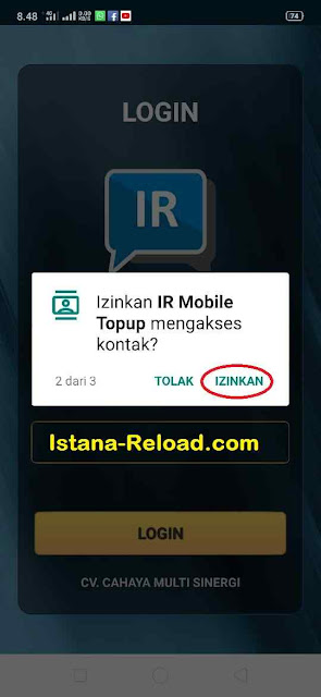 Izinkan IR Mobile Topup mengakses kontak
