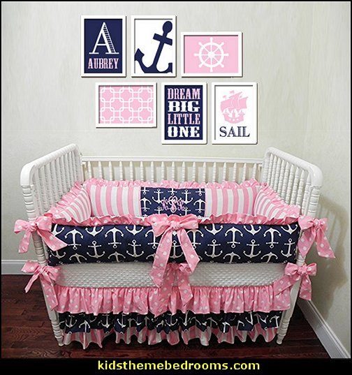 Nautical Baby Bedding, Pink and Navy Crib Bedding  nautical baby bedroom decorating ideas - nautical nursery decor - sailboat nursery decor - nautical nursery wall decals - nautical crib bedding - nautical baby bedrooms nautical baby decor - baby kids nautical decor - little girls nautical nursery - boys nautical nursery