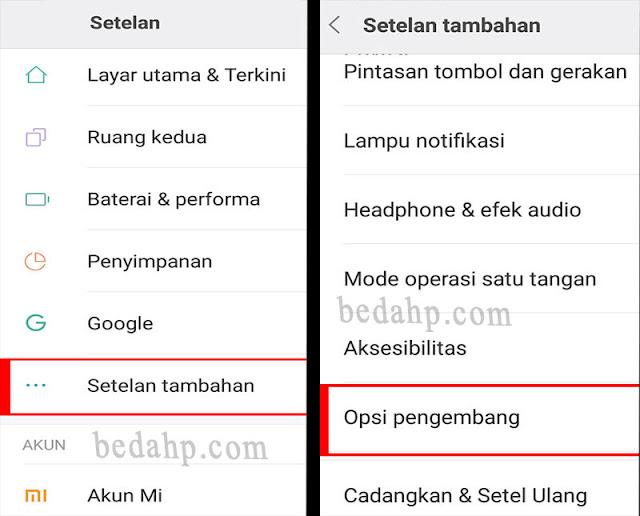 mencari menu opsi pengembang Xiaomi