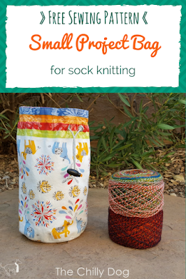 Free Sewing Pattern: Round bottom, small project bag for sock knitting and other small knit and crochet projects