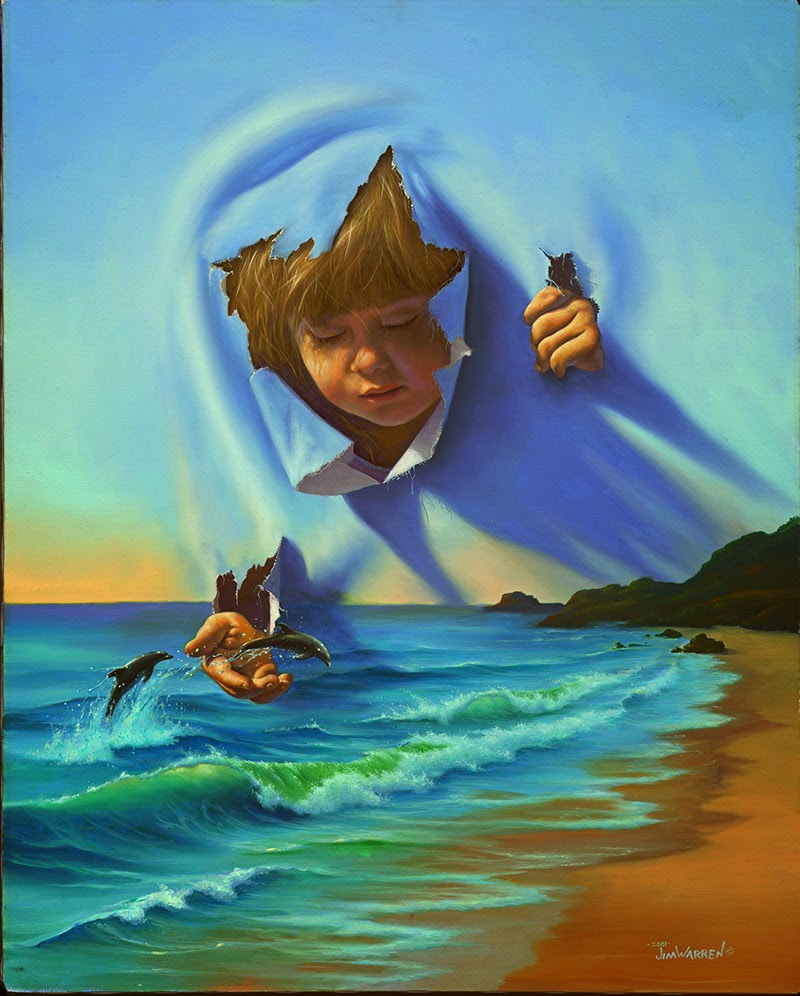 14-Dolphin-Encounter-Jim-Warren-The-Surreal-Art-of-Dreams-www-designstack-co