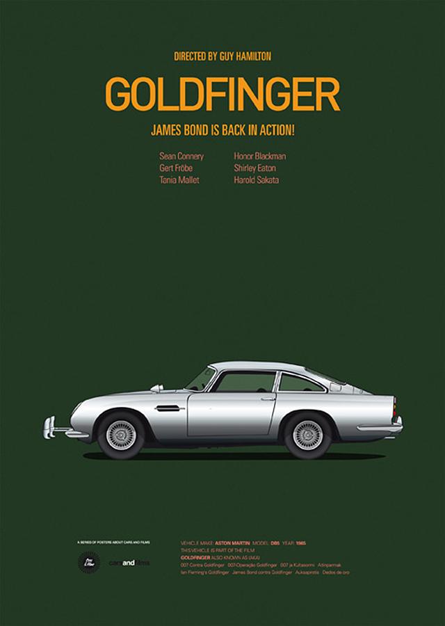 Goldfinger Bond Car Poster