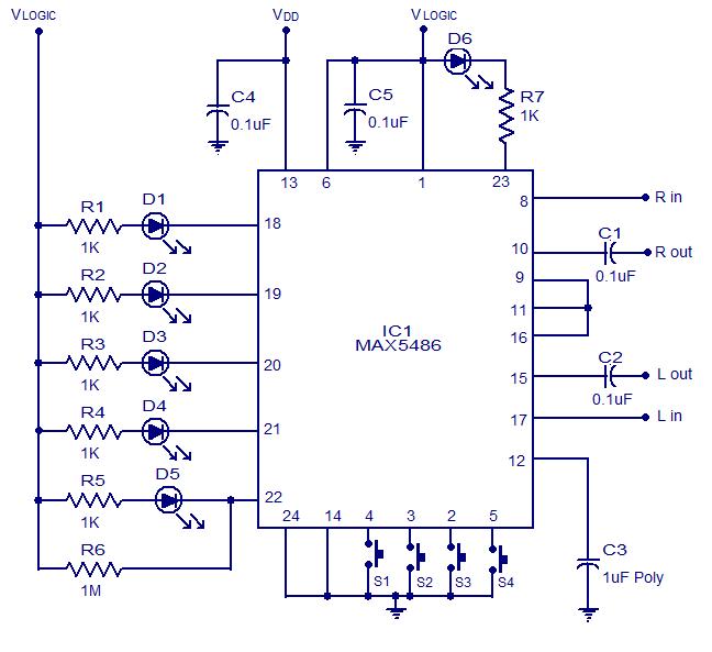 MAX5486 Digital Volume Control | audio wiring diagram