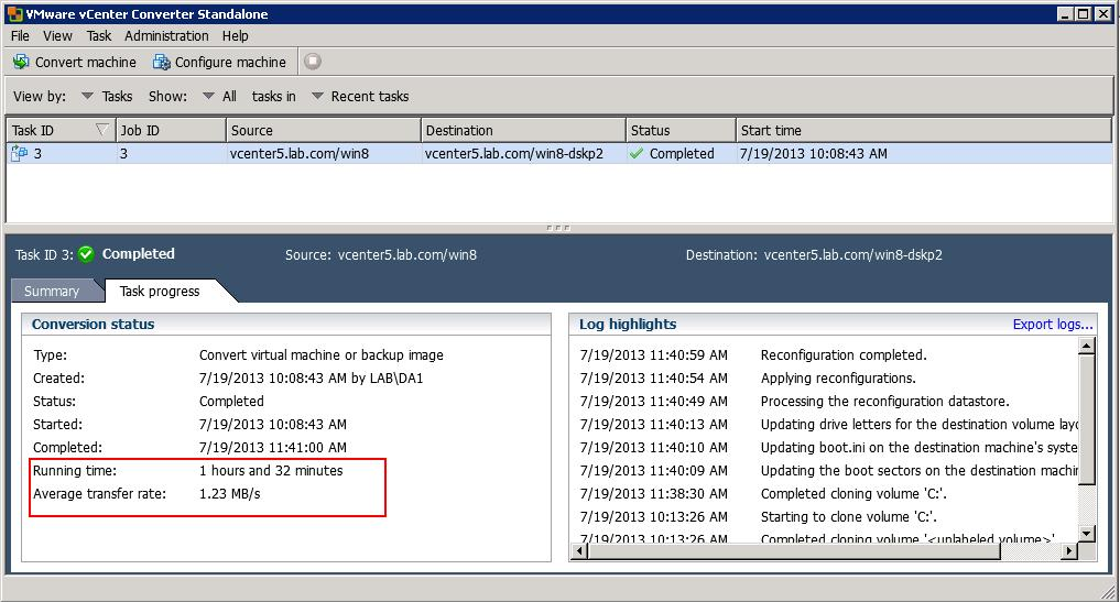 Improving Transfer Rate of P2V and V2V Conversion in VMware vCenter
