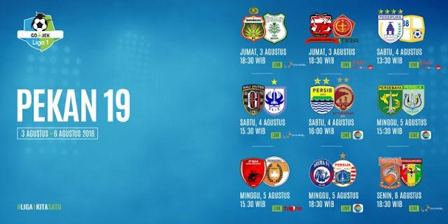 Jadwal Liga 1 2018 Pekan ke-19: Persib vs Sriwijaya, Arema vs Persija
