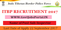 Indo Tibetian Border Police Force Recruitment 2017– 21 Sub-Inspector