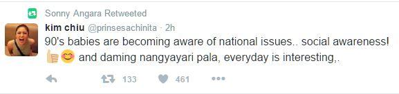 Sen. Sonny Angara retweets Kim Chiu