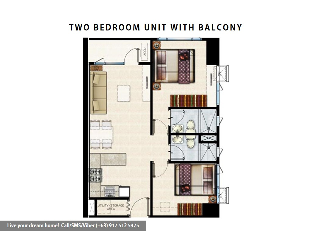 Floor Plan of SMDC Shore 3 Residences - 2 Bedroom With Balcony | Condominium for Sale SM Mall of Asia Pasay
