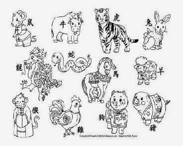 Chinese Zodiac Rabbit Coloring Page