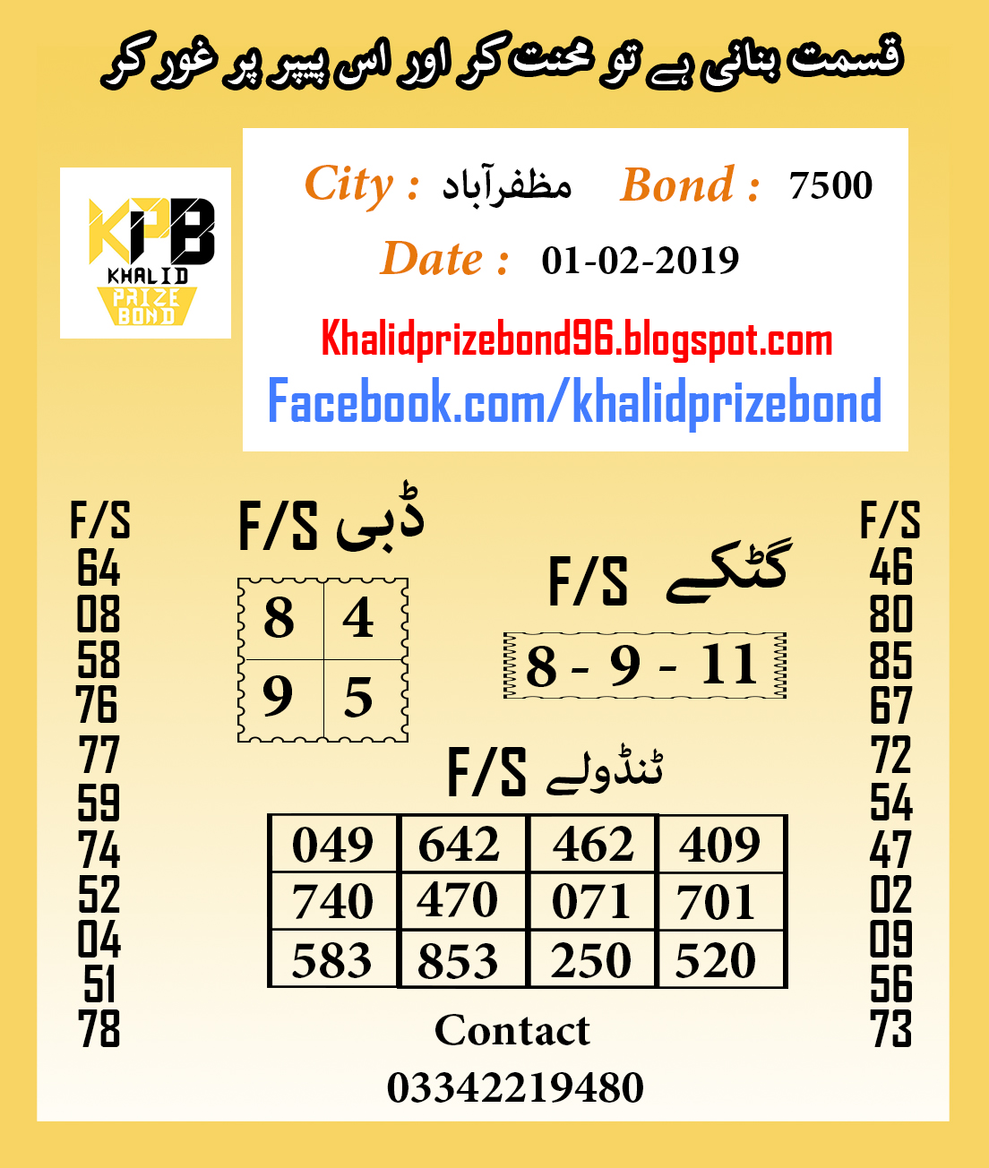 Prize Bond 7500 City Muzaffarabad F/S Akray And Tandolay Guess Paper